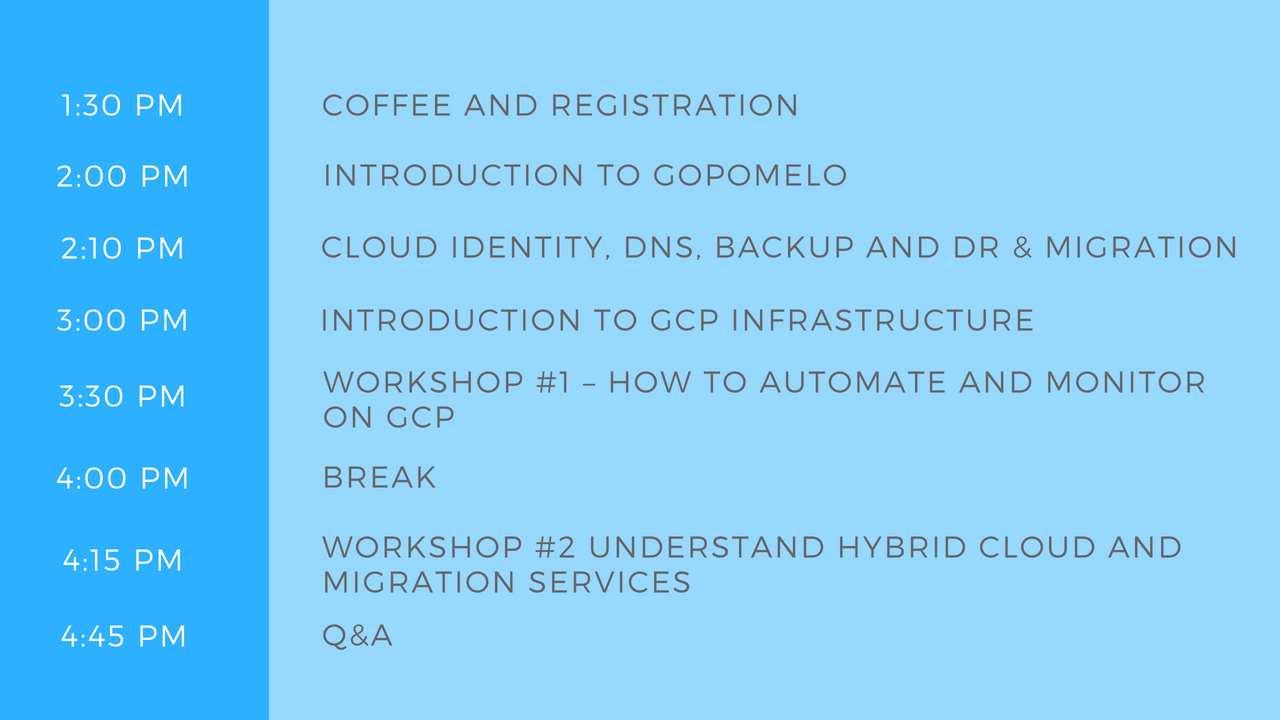 Agenda MY Cloud infra workshop