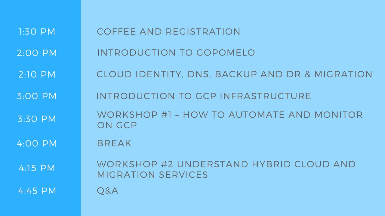 Agenda MY Cloud infra workshop